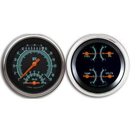 "Classic Instruments 2 Gauge Set - 3 3/8"" Ultimate Speedo & Quad  - G-Stock Series - GS32SLF"