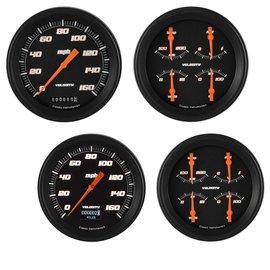 "Classic Instruments 2 Gauge Set - 4 5/8"" Speedo & Quad - Velocity Black Series"