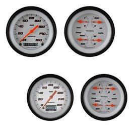 "Classic Instruments 2 Gauge Set - 3 3/8"" Speedo & Quad - Velocity White Series"