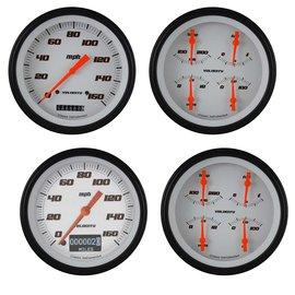 "Classic Instruments 2 Gauge Set - 4 5/8"" Speedo & Quad - Velocity White Series"