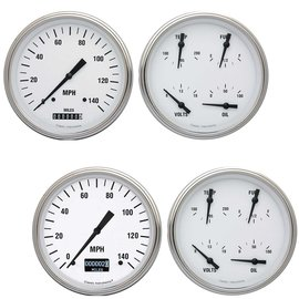 """Classic Instruments 2 Gauge Set - 4 5/8"""" Speedo & Quad - White Hot Series"""