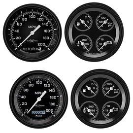 "Classic Instruments 2 Gauge Set - 3 3/8"" Speedometer & Quad - Auto Cross Series Gray"