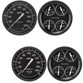 "Classic Instruments 4 5/8"" Speedometer & Quad Two Gauge Set - Auto Cross Series Gray"