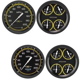 "Classic Instruments 2 Gauge Set - 4 5/8"" Speedometer & Quad - Auto Cross Series Yellow"