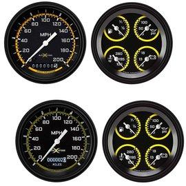 "Classic Instruments 3 3/8"" Speedometer & Quad Two Gauge Set - Auto Cross Series Yellow"