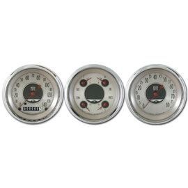 "Classic Instruments 3 Gauge Set - 3 3/8"" Speedo, Tach & Quad Gauges - All American Nickel Series - AN03SHC"