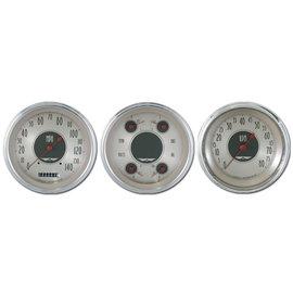 "Classic Instruments 3 Gauge Set - 4 5/8"" Speedo, Tach & Quad Gauges - American Nickel Series- AN53SLC"