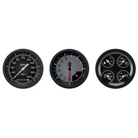 "Classic Instruments 3 Gauge Set - 3 3/8"" Speedo, Tach & Quad Gauges - Auto Cross Series Gray"