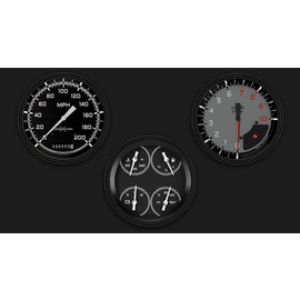 "Classic Instruments 3 Gauge Set - 4 5/8"" Speedo, Tach & Quad Gauges - AutoCross Gray Series"