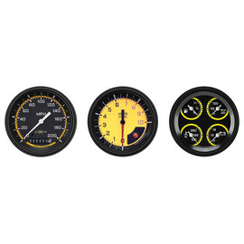 "Classic Instruments 3 Gauge Set - 3 3/8"" Speedo, Tach & Quad Gauges - Auto Cross Series Yellow"