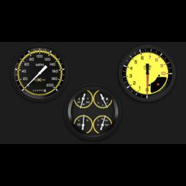 "Classic Instruments 3 Gauge Set - 4 5/8"" Speedo, Tach & Quad Gauges - AutoCross Yellow Series"