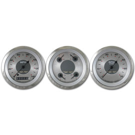 "Classic Instruments 3 Gauge Set - 3 3/8"" Speedo, Tach & Quad Gauges - All American Series - AW03SRC"