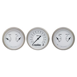 "Classic Instruments 3 Gauge Set - 3 3/8"" Speedo & Two 3 3/8"" Duals - Classic White Series - CW04SLF"