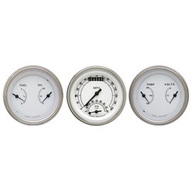 "Classic Instruments 3 Gauge Set - 3 3/8"" Ultimate Speedo & Two 3 3/8"" Duals - Classic White Series - CW34SLF"