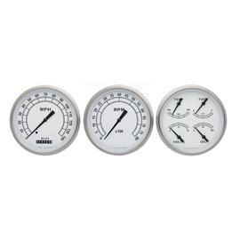 "Classic Instruments 3 Gauge Set - 4 5/8"" Speedo, Tach & Quad Gauges - Classic White Series- CW53SLF"
