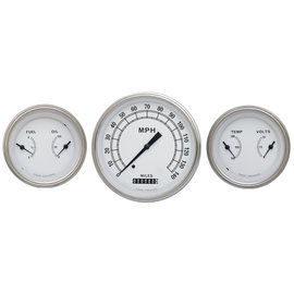 "Classic Instruments 3 Gauge Set - 4 5/8"" Speedo, Two 3 3/8"" Duals - Classic White Series - CW64SLF"