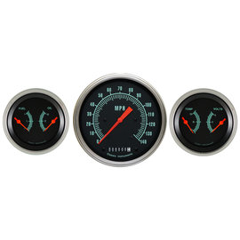 "Classic Instruments 3 Gauge Set - 4 5/8"" Speedo, Two 3 3/8"" Duals - G-Stock Series"