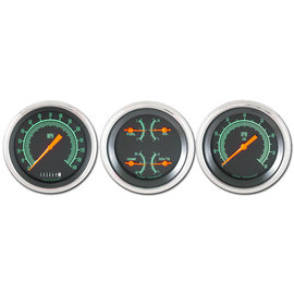 "Classic Instruments 3 Gauge Set - 3 3/8"" Speedo, Tach and Quad  - G-Stock Series"
