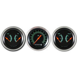 "Classic Instruments 3 Gauge Set - 3 3/8"" Speedo & Two 3 3/8"" Duals - G-Stock Series"