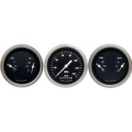 """Classic Instruments 3 Gauge Set - 3 3/8"""" Speedo & Two 3 3/8"""" Duals - Hot Rod Series"""