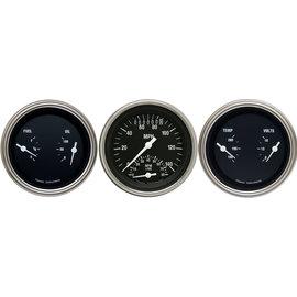 "Classic Instruments 3 Gauge Set - 3 3/8"" Ultimate Speedo & Two 3 3/8"" Duals - Hot Rod Series - HR34SLF"