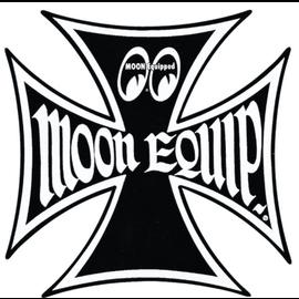 Mooneyes Moon Equipped Iron Cross Logo Sticker - Black