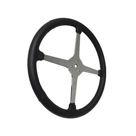 "Limeworks Sprint Steering Wheel - 15"" Black Leather - 4 Spoke/No Holes - ST3018"