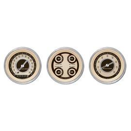 "Classic Instruments 3 Gauge Set - 3 3/8"" Speedo, Tach & Quad Gauges - Nostalgia Series - NT03SHC"