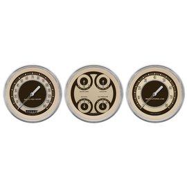 "Classic Instruments 3 Gauge Set - 4 5/8"" Speedo, Tach & Quad Gauges - Nostalgic Series - NT53SLC"