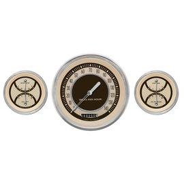 "Classic Instruments 3 Gauge Set - 4 5/8"" Speedo, Two 3 3/8"" Duals - Nostalgia Series - NT64SLC"
