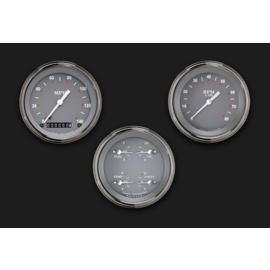 "Classic Instruments 3 Gauge Set - 3 3/8"" Speedo, Tach & Quad Gauges - Silver/Gray Series - SG03SLF"