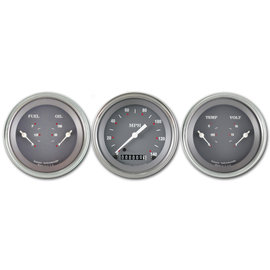 "Classic Instruments 3 Gauge Set - 3 3/8"" Speedo & Two 3 3/8"" Duals - Silver/Gray Series - SG04SLF"