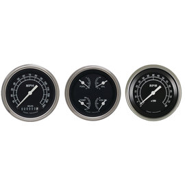 "Classic Instruments 3 Gauge Set - 3 3/8"" Speedo, Tach & Quad Gauges  - Traditional Series - TR03SLF"