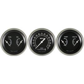 "Classic Instruments 3 Gauge Set - 3 3/8"" Speedo & Two 3 3/8"" Duals - Traditional Series - TR04SLF"