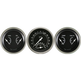 """Classic Instruments 3 Gauge Set - 3 3/8"""" Ultimate Speedo & Two 3 3/8"""" Duals - Traditional Series - TR34SLF"""