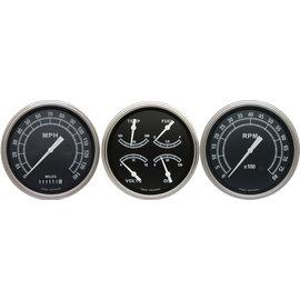 "Classic Instruments 3 Gauge Set - 4 5/8"" Speedo, Tach & Quad Gauges - Traditional Series - TR53SLF"