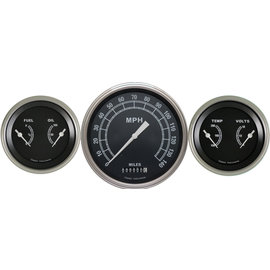 "Classic Instruments 3 Gauge Set - 4 5/8"" Speedo, Two 3 3/8"" Duals - Traditional Series - TR64SLF"