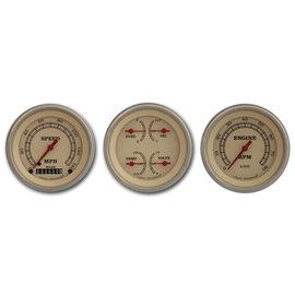 "Classic Instruments 3 Gauge Set - 3 3/8"" Speedo, Tach & Quad Gauges  - Vintage Series - VT03SLF"