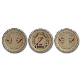 "Classic Instruments 3 Gauge Set - 3 3/8"" Speedo & Two 3 3/8"" Duals - Vintage Series - VT04SLF"