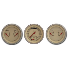 "Classic Instruments 3 Gauge Set - 3 3/8"" Ultimate Speedo & Two 3 3/8"" Duals - Vintage Series - VT34SLF"