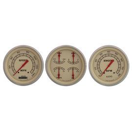 "Classic Instruments 3 Gauge Set - 4 5/8"" Speedo, Tach & Quad Gauges - Vintage Series - VT53SLF"