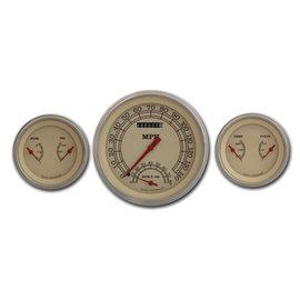"Classic Instruments 3 Gauge Set - 4 5/8"" Speedtachular, Two 3 3/8"" Duals - Vintage Series - VT61SLF"