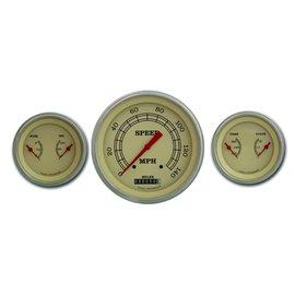 "Classic Instruments 3 Gauge Set - 4 5/8"" Speedo, Two 3 3/8"" Duals - Vintage Series - VT64SLF"