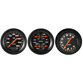 "Classic Instruments 3 Gauge Set - 3 3/8"" Speedo, Tach & Quad Gauges - Velocity Black Series"