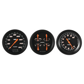 "Classic Instruments 3 Gauge Set - 4 5/8"" Speedo, Tach & Quad Gauges - Velocity Black Series"