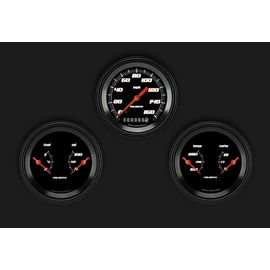 "Classic Instruments 3 Gauge Set - 3 3/8"" Speedo & Two 3 3/8"" Duals - Velocity Black Series"