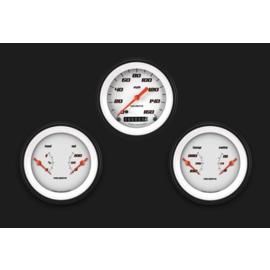 "Classic Instruments 3 Gauge Set - 3 3/8"" Speedo & Two 3 3/8"" Duals - Velocity White Series"