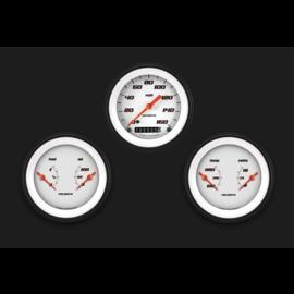 "Classic Instruments 3 Gauge Set - 3 3/8"" Speedo & Two 3 3/8"" Duals - Velocity White Series"
