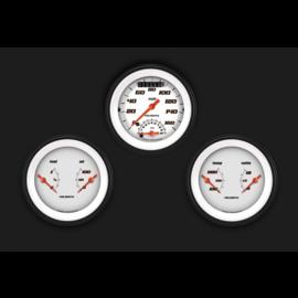 "Classic Instruments 3 Gauge Set - 3 3/8"" Ultimate Speedo & Two 3 3/8"" Duals - Velocity White Series - VS34WBLF"