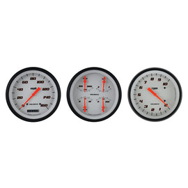 "Classic Instruments 3 Gauge Set - 4 5/8"" Speedo, Tach & Quad Gauges - Velocity White Series"